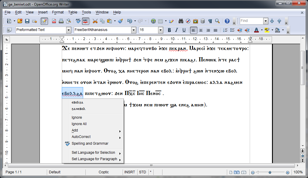 Coptic Text in OpenOffice